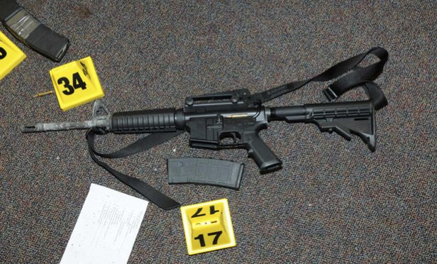 The Bushmaster AR-15 rifle Adam Lanza used in the December 2012 shooting at an elementary school in Newtown, Connecticut. The shooting killed 20 children and six adults. Photo: Connecticut State Police.