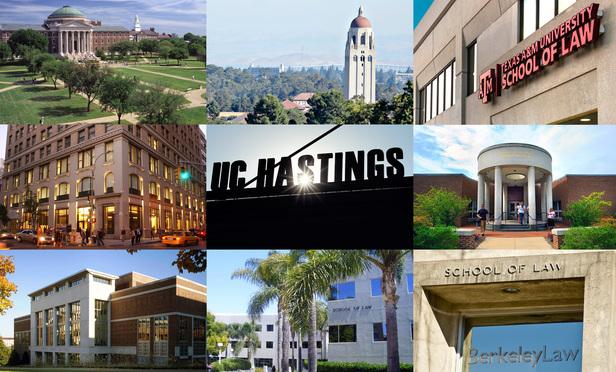 Southern Methodist, Stanford, Texas A&M, Cardozo, UC Hastings, University of North Carolina, Vanderbilit, UC Irvine, University of Berkeley