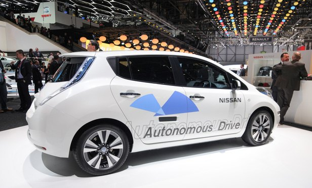 Nissan autonomous car prototype (using a Nissan Leaf electric car) exhibited at the Geneva Motor Show 2014 (photo taken on the first press day) Norbert Aepli, Switzerland Wikimedia
