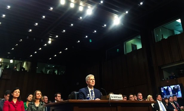 Judge Neil Gorsuch appears March 20 at his confirmation hearing. (Diego M. Radzinschi / ALM Media)