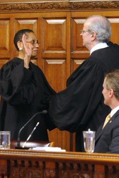 Judge Sheila Abdus-Salaam is formally sworn in by Chief Judge Jonathan Lippman during a ceremony at the Court of Appeals in Albany on June 20, 2013. (Photo: Tim Roske)