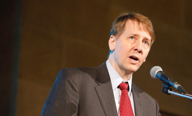 CFPB Director Richard Cordray speaking at the U.S. Chamber of Commerce's 11th Annual Capital Markets Summit: Financing American Business, in Washington, D.C. March 30, 2017. (Photo: Diego M. Radzinschi/ALM)