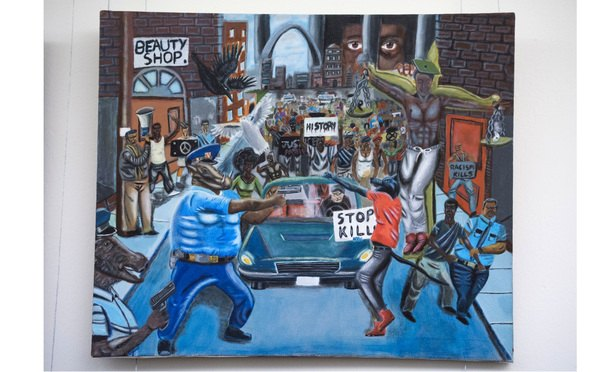 """A painting titled """"Untitled 1,"""" by Missouri high school student David Pulphus, appears after it was rehung, January 10, 2017. The painting was removed from the Congressional Art Competition display in Cannon tunnel by Rep. Duncan Hunter, R-Calif. (Photo: Tom Williams/CQ Roll Call via AP Images)"""