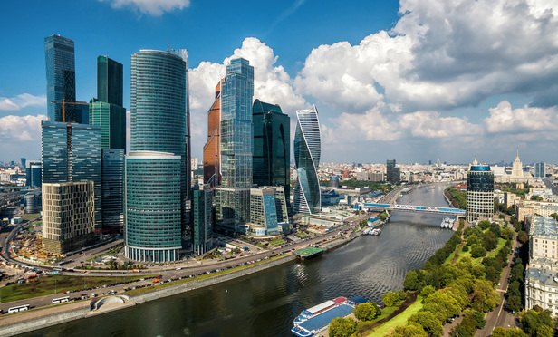 Aerial view to Moscow-city (Moscow International Business Center) over Moskva River.