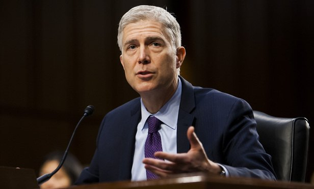 Judge Neil Gorsuch testifies before the Senate Judiciary Committee during the second day of his confirmation hearing to replace the late Justice Antonin Scalia at the U.S. Supreme Court. March 21, 2017. (Photo: Diego M. Radzinschi/ALM)