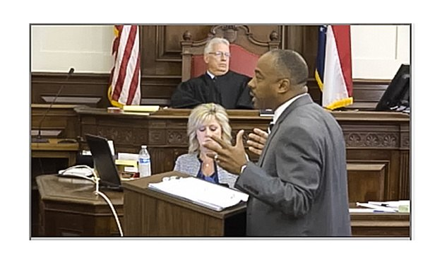 Orlando Richmond of Butler Snow gives opening statement during talc powder suit. (Photo courtesy of Courtroom View Network.)