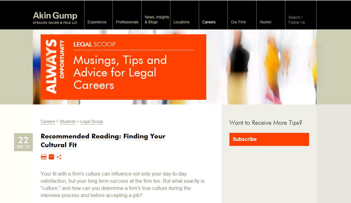 New Akin Gump Blog Aims to School Big Law Recruits