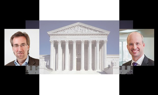 The U.S. Supreme Court building. With Law.com IP reporter Scott Graham and Orrick, Herrington & Sutcliffe partner Mark Davies.