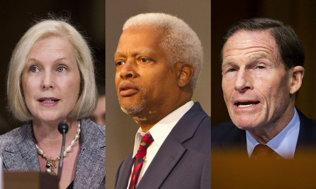 Sen. Kirsten Gillibrand, D-New York, (from left), Rep. Hank Johnson, R-Georgia, and Sen. Richard Blumenthal, D- Connecticut (Photos: Diego Radzinschi and John Disney /ALM)