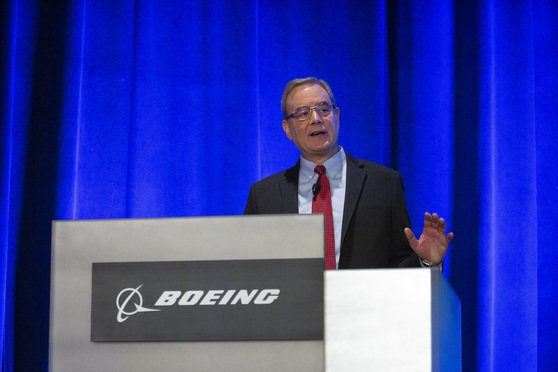A Boeing news conference at the general annual shareholder meeting.