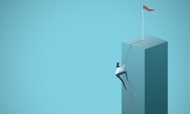 Business goal, objective, target vector concept with businesswoman climbing a cliff on a rope. Symbol of motivation, career growth, success, ambition.