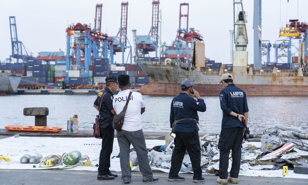 Debris recovered from the crash site sits on the dockside at Tanjung Priok Port in Jakarta, Indonesia, on Monday, Oct. 29, 2018. ABoeing Co.737 Max jet, operated by Indonesia'sLionAir, crashed in the Java Sea with 189 people on board, making it the model's first accident and potentially the worst commercial aviation disaster in three years.