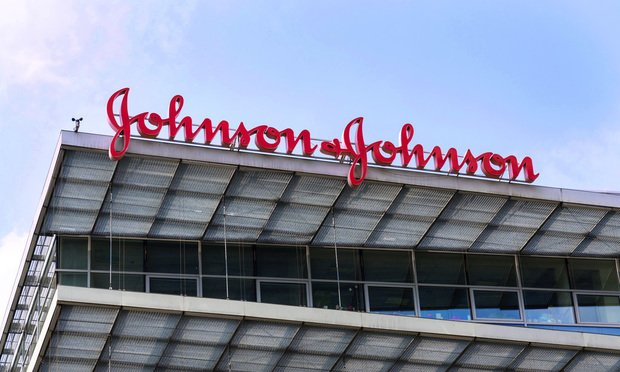 Johnson & Johnson company logo on headquarters building on May 12, 2018 in Prague, Czech Republic.