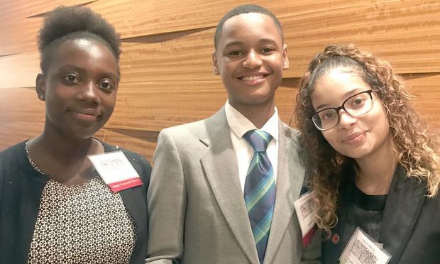 From left, Jessica Sotindjo, Richard Minor and Estefhani Tavarez.