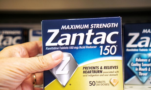 Over the counter Zantac used for acid reflux and heartburn.