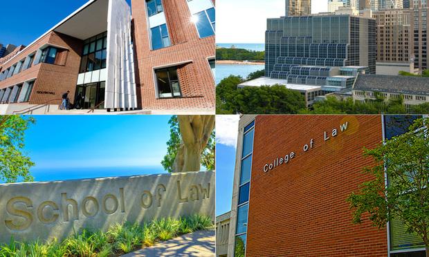 Top Row L-R University of Pennsylvania Carey Law School and Northwestern University Pritzker School of Law. Bottom Row L-R Pepperdine University School of Law and University of Kentucky College of Law.