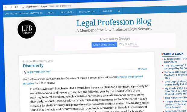 Screenshot of Legal Profession Blog.
