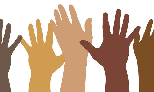 Multi-ethnic hands.
