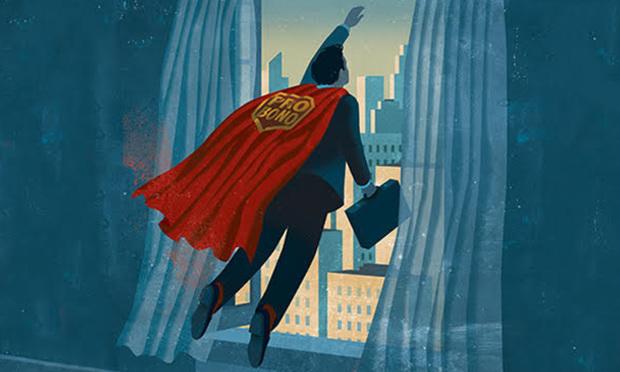 Image of superman type pro bono lawyer