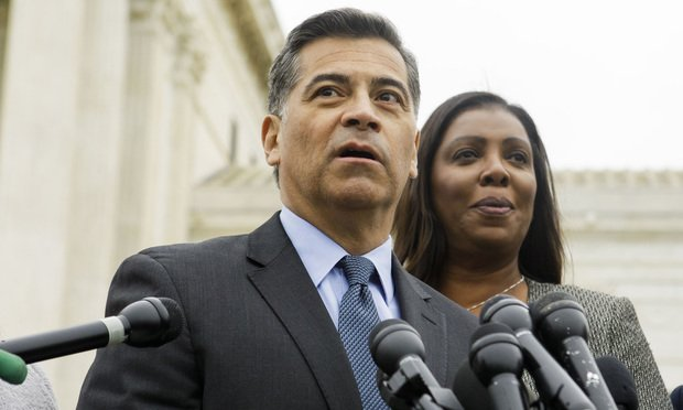 California Attorney General Xavier Becerra outside the U.S. Supreme Court in Washington after oral arguments in the consolidated cases Department of Homeland Security v. Regents of the University of California, on Tuesday, November 11, 2019.