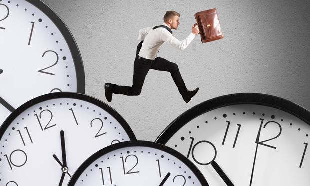 Businessman runs overload of work always late