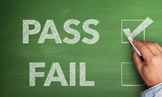 Pass Fail on chalkboard