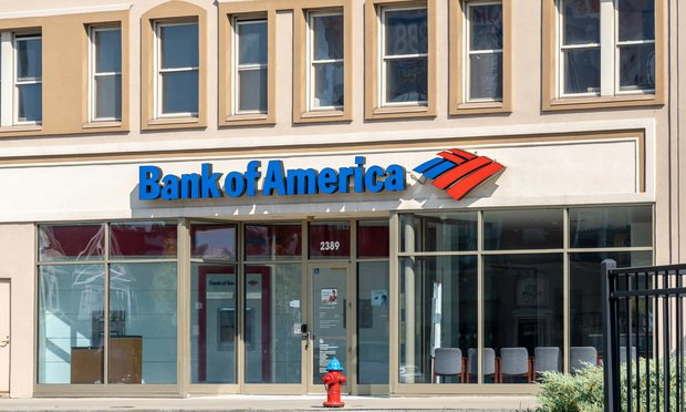 Sign and Logo of Bank of America.