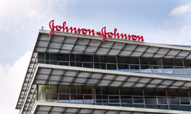 Johnson & Johnson company logo on headquarters building on May 12, 2018 in Prague, Czech Republic.