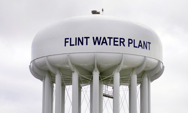 Water tower at Flint Water Plant
