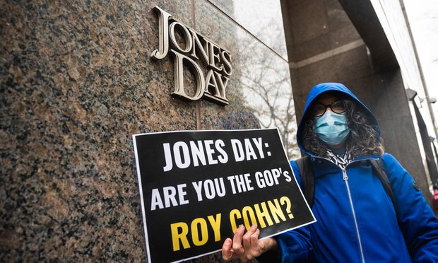 On November 13, 2020 people gathered outside the Jones Day offices in Manhattan, New York to protest the lawsuits challenging the results of the presidential election that Jones Day and Porter Wright filed on behalf of Donald Trump's campaign and the Pennsylvania Republican Party. Photo: Ryland West/ALM