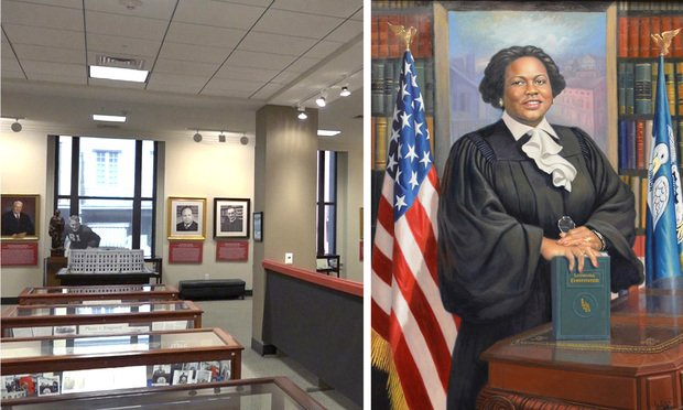 The Chief Justice Bernette Joshua Johnson Supreme Court Museum and Portait by Haitian artist Ulrick Jean-Pierre, unveiled at the Court on February 17, 2014. (Courtesy of The Supreme Court of Louisiana Historical Society)