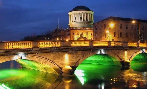Dublin Four Courts And Bridge By Night