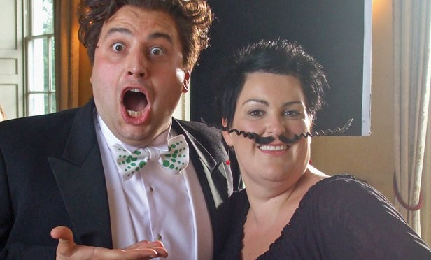l-r Gio Compario and Hayley Parsons (with moustache) of Go Compare.March 2010 (or 1 April)-Article-201609131121