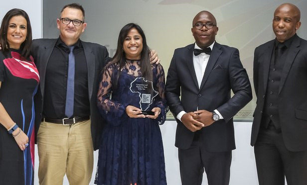 (l-r) Host, broadcaster Leanne Manas; Koos Pretorius, joint head of corporate commercial and Lydia Shadrach-Razzino, director; awards judge Talenta Chavalala, senior legal adviser, Development Bank of Southern Africa; far right, Otsile Matlou, head of mining