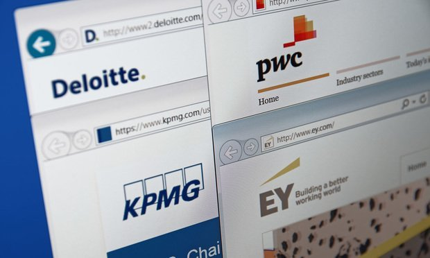 A computer screen shows details of Big Four auditors main pages on its websites. Credit: shutterstock.