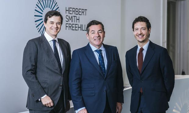 New HSF disputes partner David Arias, HSF Madrid managing partner Miguel Riano and HSF Madrid disputes head Eduardo Soler-Tappa