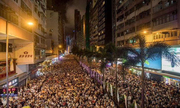 protest in Hong Kong against proposed exradition law