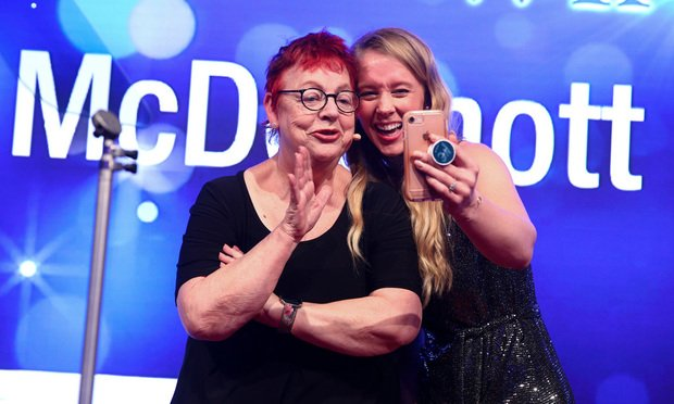 Amy Glover, Private Client Global Elite, with host Jo Brand