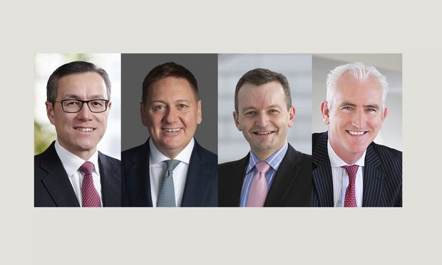 Milton Cheng of Baker McKenzie, Justin D'Agostino of Herbert Smith Freehills, Stuart Fuller of KPMG, and Tony O'Malley of PwC.