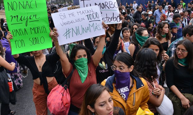 Women protested gender-based violence in Mexico City earlier this month.