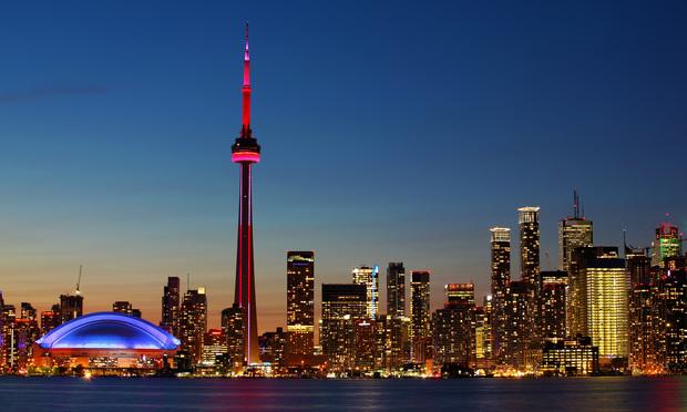 Toronto's city center at sunset.