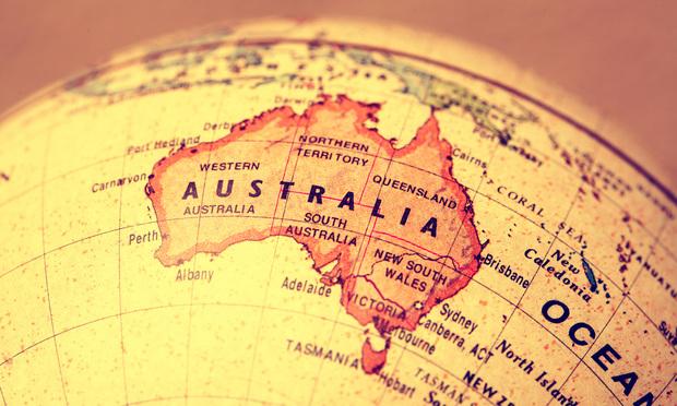 Map of Australia on a globe