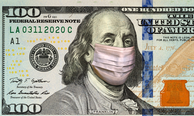 Benjamin Franklin in healthcare surgical mask on a one hundred dollar bill.