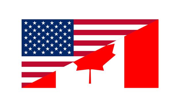 Canada and U.S. flag