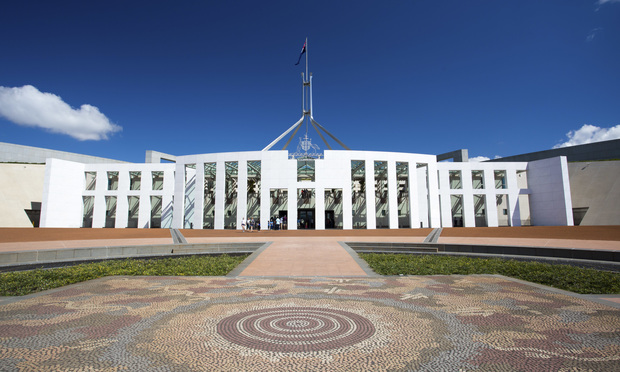 The Australian Parliament building in Canberra, Australia