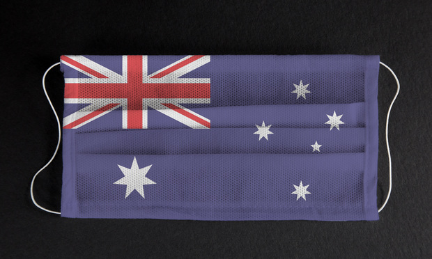 Flag of Australia printed on medical mask