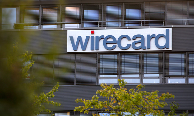 Wirecard logo on company headquarters building in Munich
