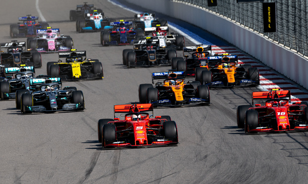 Race start at the Formula 1 Grand Prix of Russia in Sochi, on September 29, 2019.