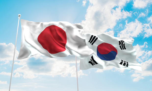 Flags of Japan and South Korea