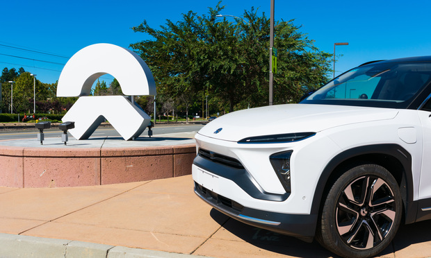 NIO ES6 electric SUV on display near Chinese automobile manufacturer NIO Inc.'s office in Silicon Valley